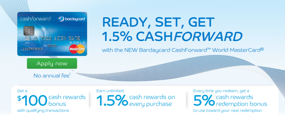Barclay CashForward Zero APR Reward Credit Card Terms