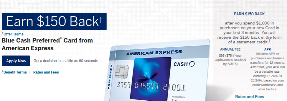 American Express Blue Preferred Cashback Zero APR Credit Card