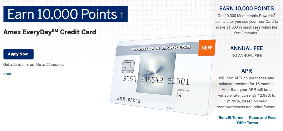 The AMEX EveryDay Cashback Rewards Credit Card