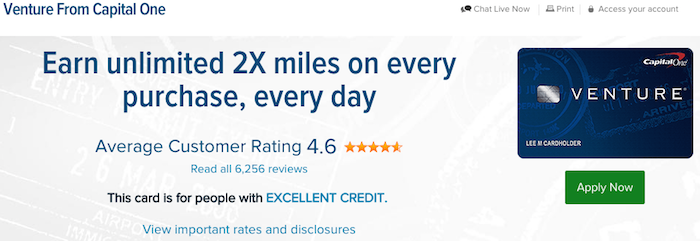 Capital One Venture Travel Rewards Credit Card