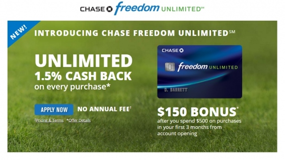 Chase Freedom Unlimited Cashback Rewards Credit Card