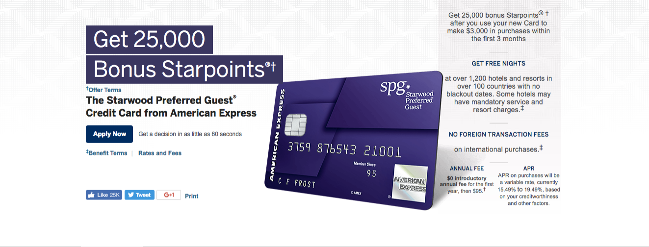 Reward Credit Card Earn Starpoints