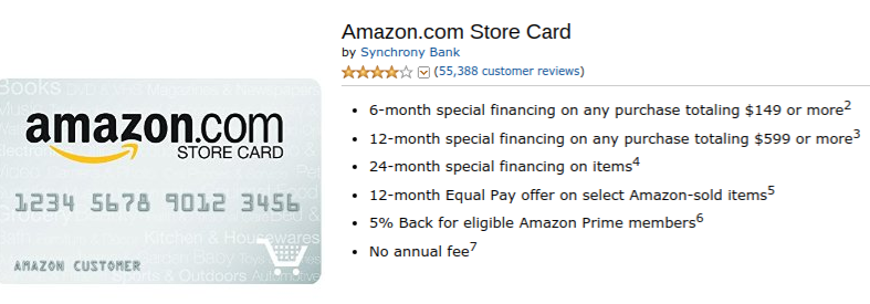 Amazon Store Credit Card from Synchrony Bank