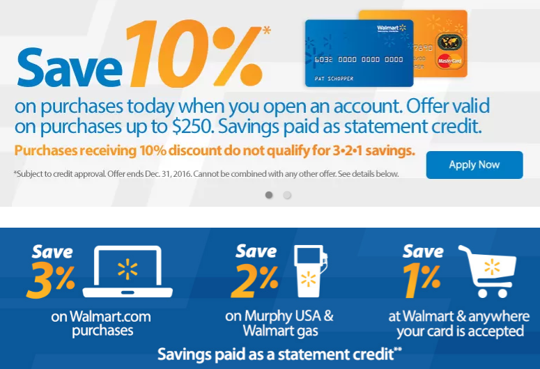 WalMart Rewards Store Cashback Credit Card