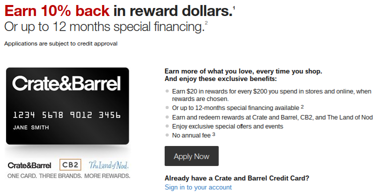 Crate and Barrel Store Rewards Credit Card
