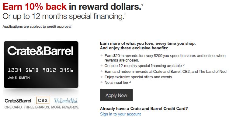 Crate and Barrel Store Rewards Credit Card