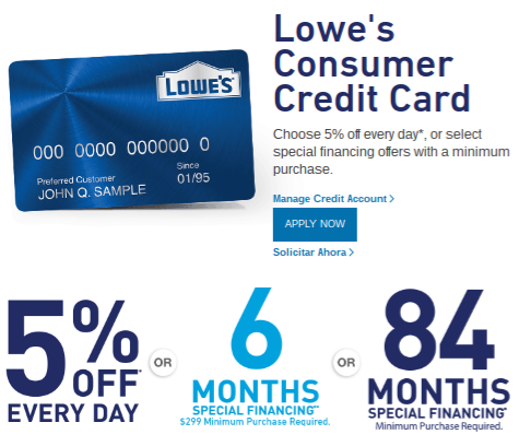 Lowes Consumer Store Rewards Credit Card