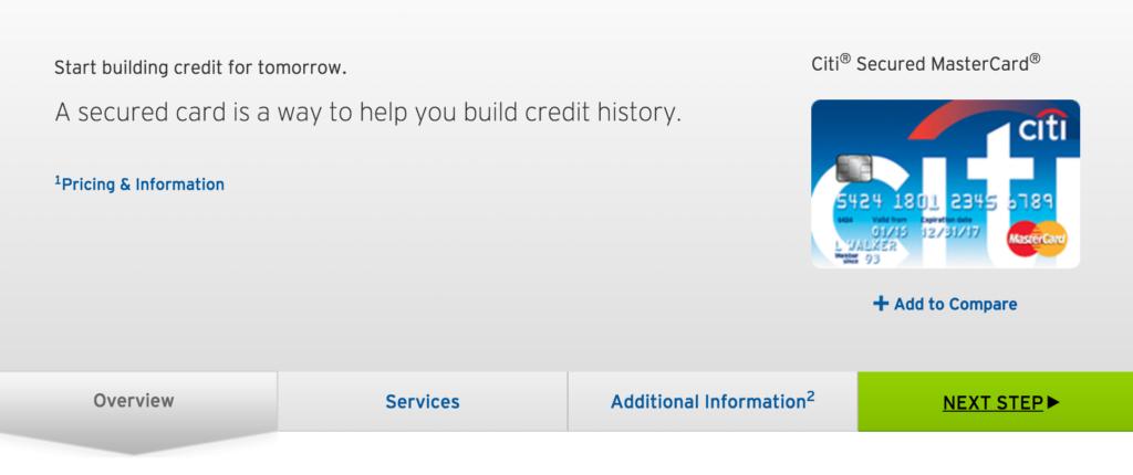 Secured Citi Credit Card