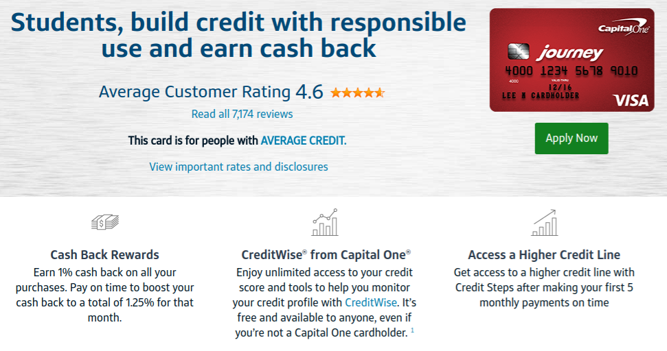 The Journey Student Rewards Credit Card from Capital One for Fair Credit Borrowers