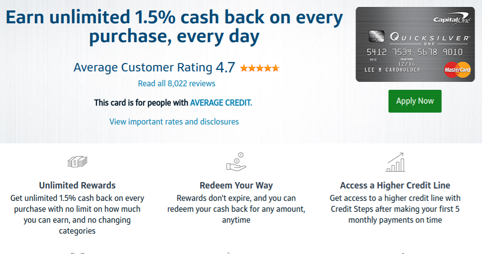 The QuicksilverOne Cash Rewards Credit Card from Capital One
