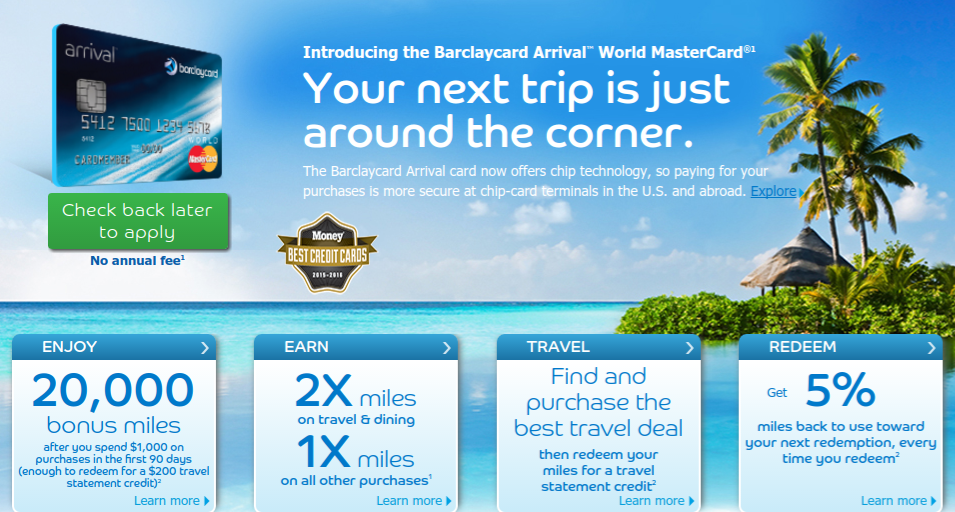 Arrival World MasterCard Travel Cashback Credit Card from Barclaycard