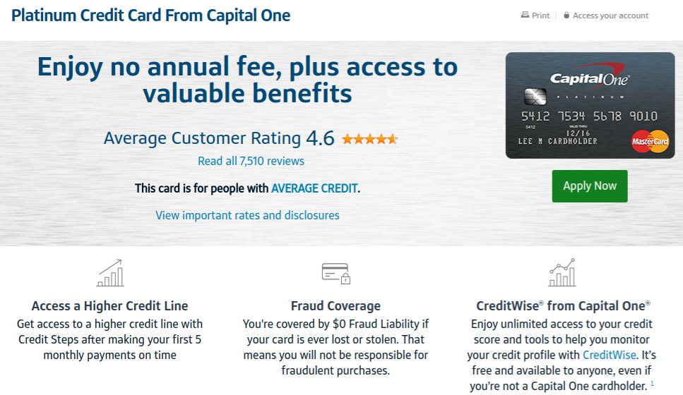 Terms for the Platinum MasterCard Unsecured Credit Card from Capital One