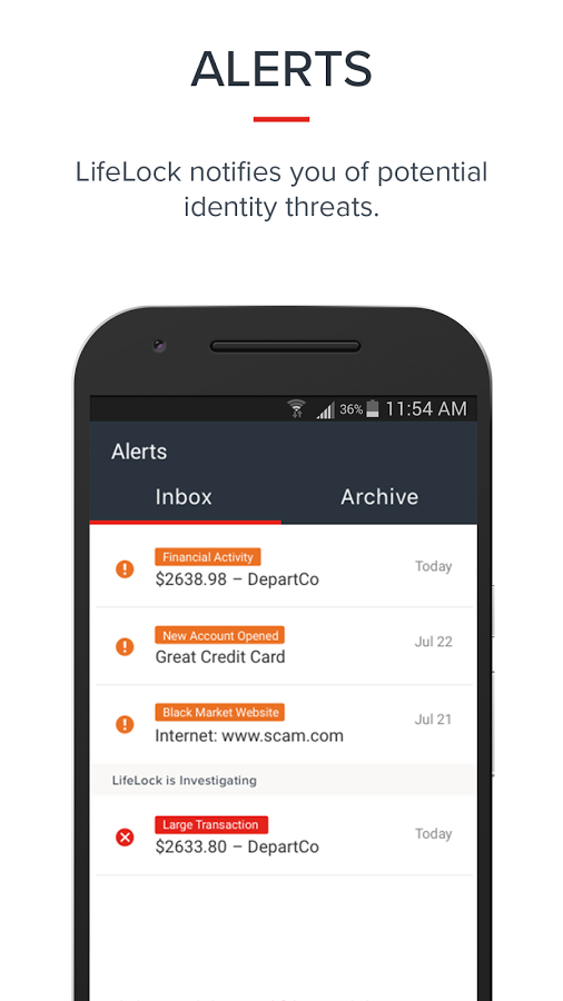 LifeLock Identity Alerts Showing in Their Mobile App