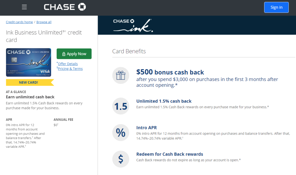 Chase Ink Business Unlimited Credit Card Review, Huge Sign